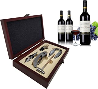 Wine Opener Set, Gurlley Rabbit Red Wine Corkscrew Bottle Opener Accessories Manual Wine Remover Screwpull Tool Kit Stopper with Foil Cutter, Corkscrew Spiral and Gift Box