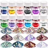 Opal Chunky Glitter, LEOBRO Craft Glitter Set , 12 Color Holographic Glitter for Resin, Iridescent Glitter Flakes for Slime Tumblers, Cosmetic Sequin Glitter for Body, Face, Nail Art Glitter, Each 10G