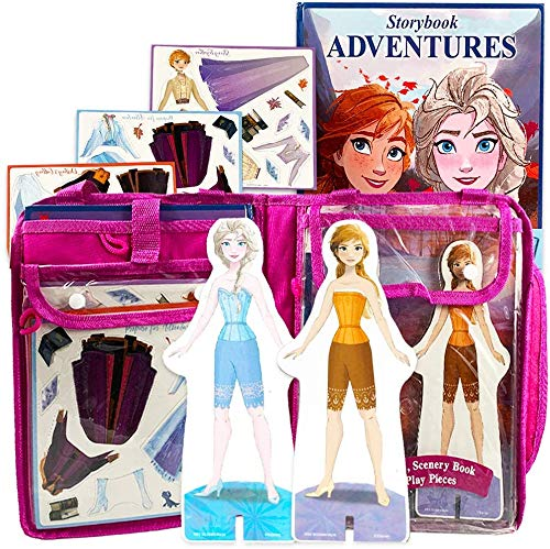 Disney Frozen Magnetic Dress Up Doll Figures with 29 Magnetic Wardrobe Accessories, Scenery Book, and Tote Bag (Frozen 2 Elsa & Anna Bundle)