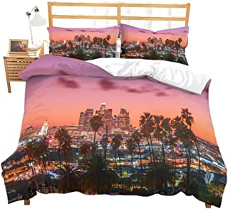 Feelyou Modern Cityscape Print Duvet Cover Set Queen Los Angeles Night Scene Bedding Set City Scenery Soft Microfiber Polyester Comforter Cover with 2 Pillow Shams, Zipper, Luxury 3 Pieces