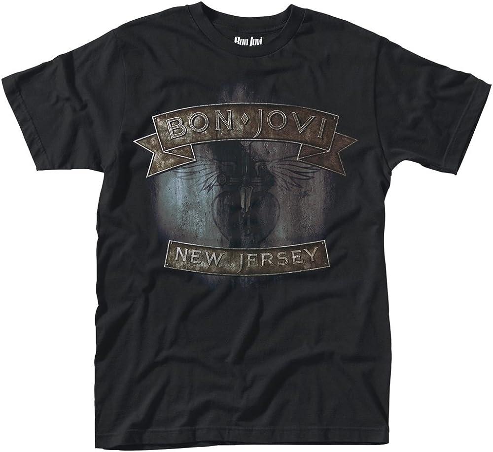 Bon Jovi New Jersey Hombre Camiseta Negro, Regular