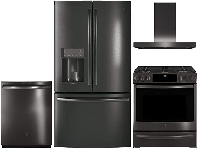 Amazon Com Ge Profile 4 Piece Kitchen Appliance Package With Pfe28kblts 36 French Door Refrigerator Pgs930belts 30 Slide In Gas Range Uvw9361blts 36 Hood And Built In Dishwasher In Black Stainless Steel Appliances