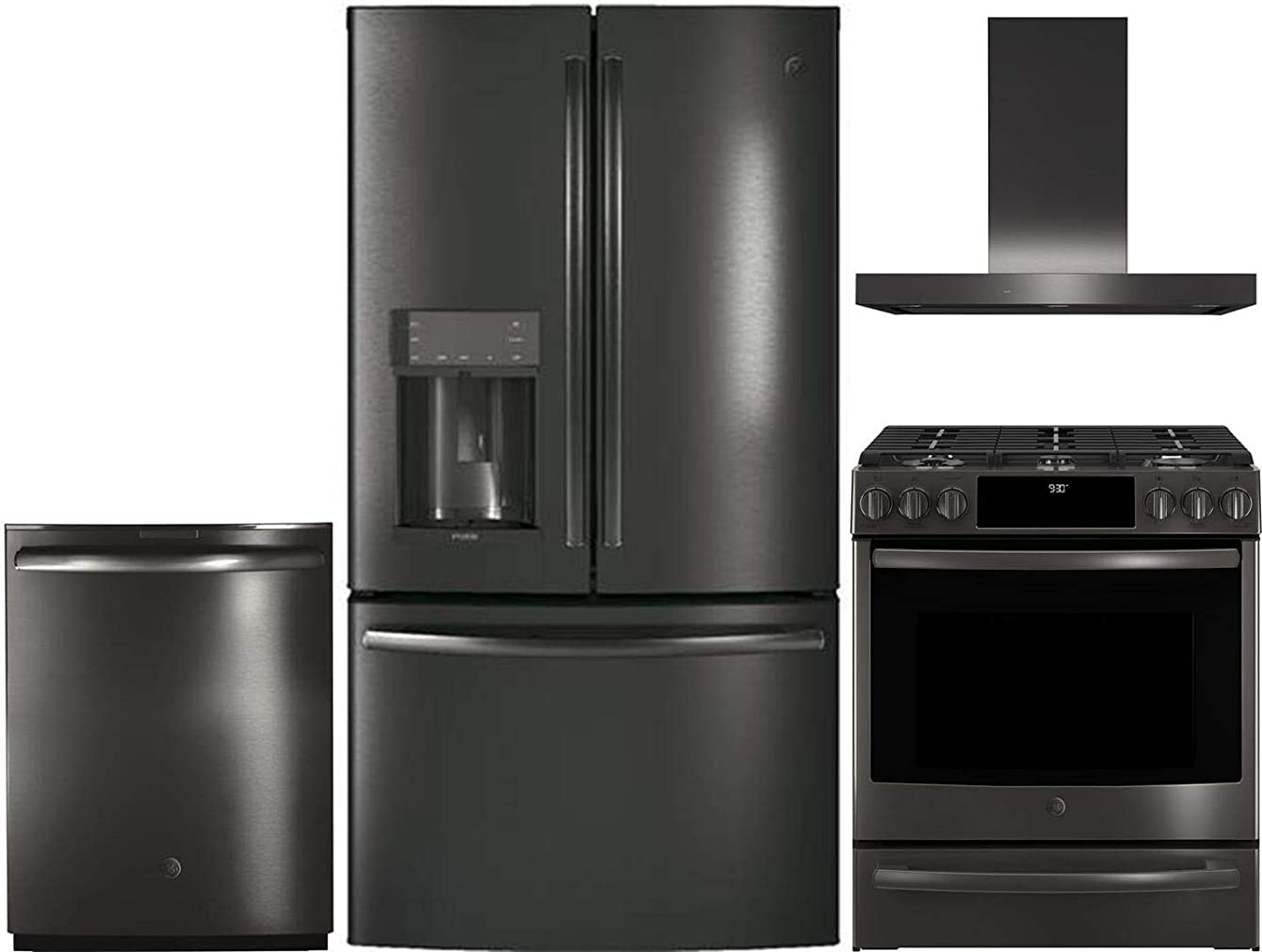 GE Profile 4 Piece Kitchen Appliance Package with PFE28KBLTS 36