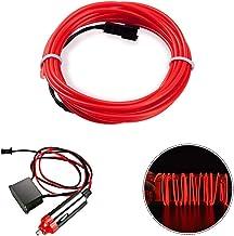 HopeU5® 5M Coche 12V LED luces frías Flexible Neon EL Wire Lámparas automáticas en coche Tiras de luz fría Tiras de decoración interior de línea lámparas-Rojo