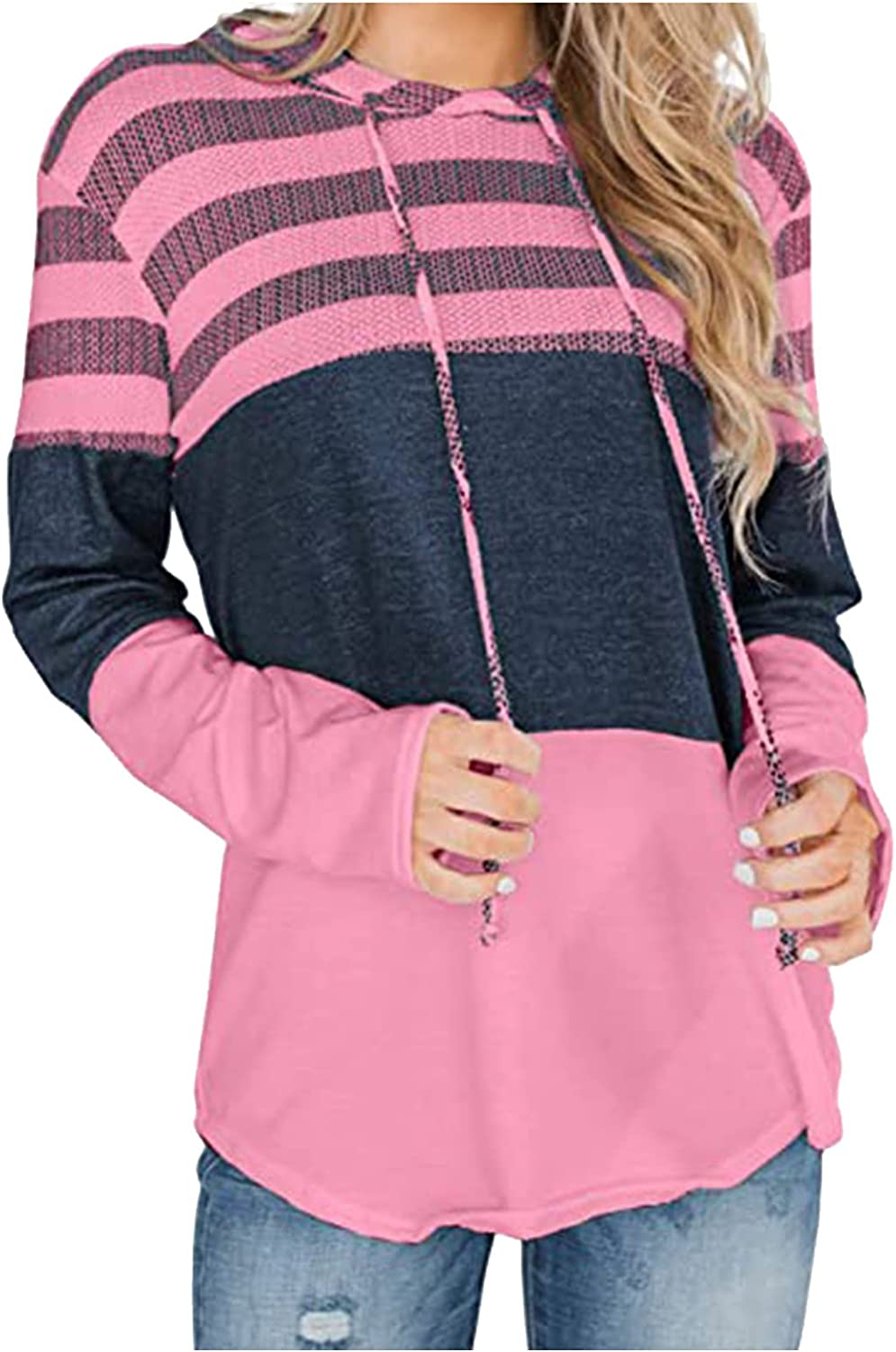 Women's Pullover Hoodies Casual Button Down Drawstring Long Sleeve Sweatshirts Fall Tops With Pocket