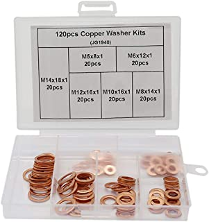 Boeray 120pcs Red Bronze Copper Crush Washers Gasket Ring Assortment Set Repair Kits for Auto Car Boat Marince M5 M6 M8 M10 M12 M14