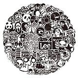 LeQin Adesivi 60pezzi, Adesivi Bianco e Nero, Vinile Waterproof Stickers, Adesivi per Skateboard, Valigie, Auto, Bici, Moto, Casco, Finestra, Chitarra, Adatti per Adolescenti, Adulti, Bambini