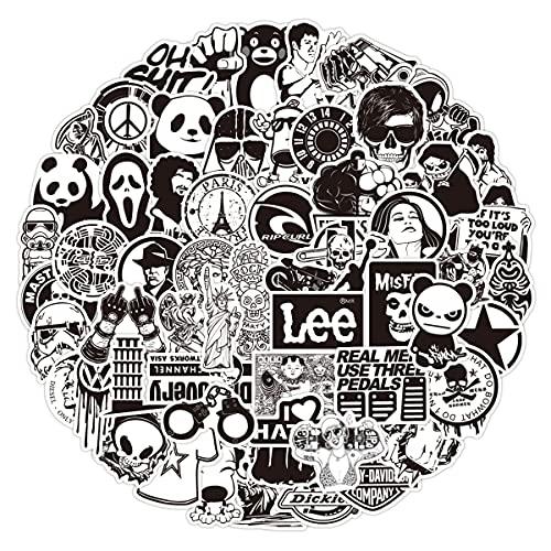 LeQin Aufkleber Schwarz Weiß 60 Stücke, Vinyl Graffiti Sticker für Auto Skateboard Guitar Bike Travel Case, Sticker für Kinder Teens