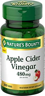 Nature's Bounty Apple Cider Vinegar Dietary Supplement, Supports Energy Levels and Metabolism, Plant Based, 480mg, 200 Tab...