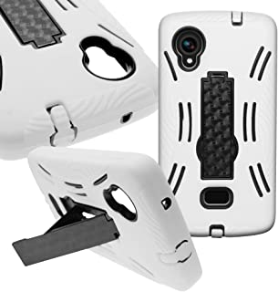 CoverON Hybrid Dual Layer Kickstand Case for LG Google Nexus 5 - with Cover Removal Pry Tool - Black Hard White Soft Silicone