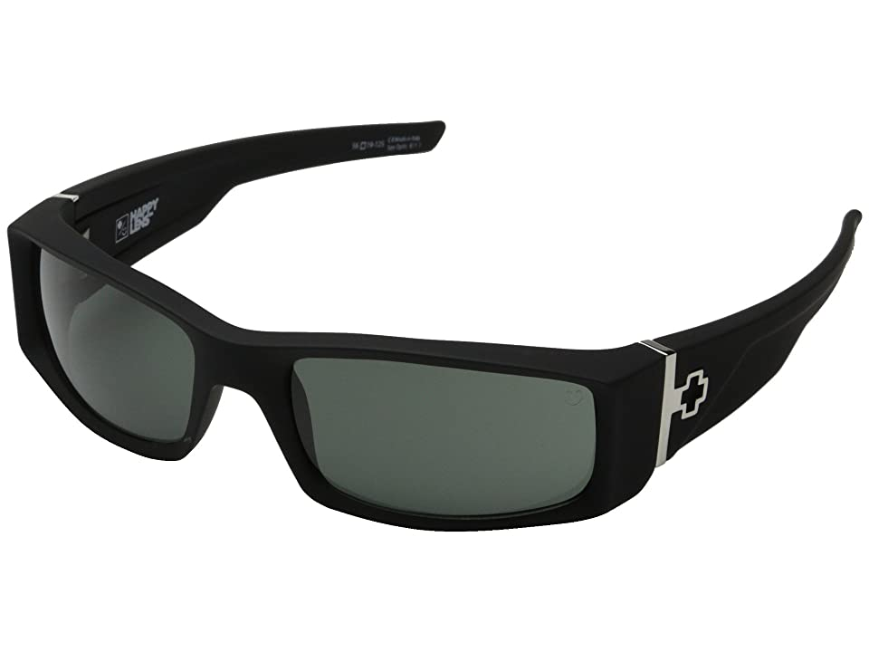 Spy Optic Hielo (Soft Matte Black/Happy Gray Green) Plastic Frame Fashion Sunglasses