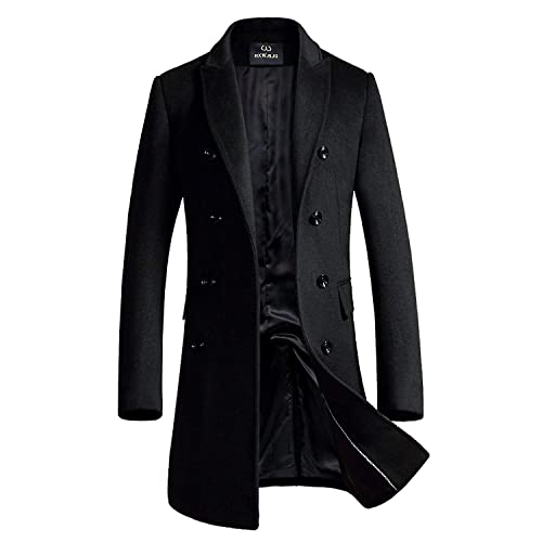 5244f709f Men's Premium Wool Blend Double Breasted Long Pea Coat