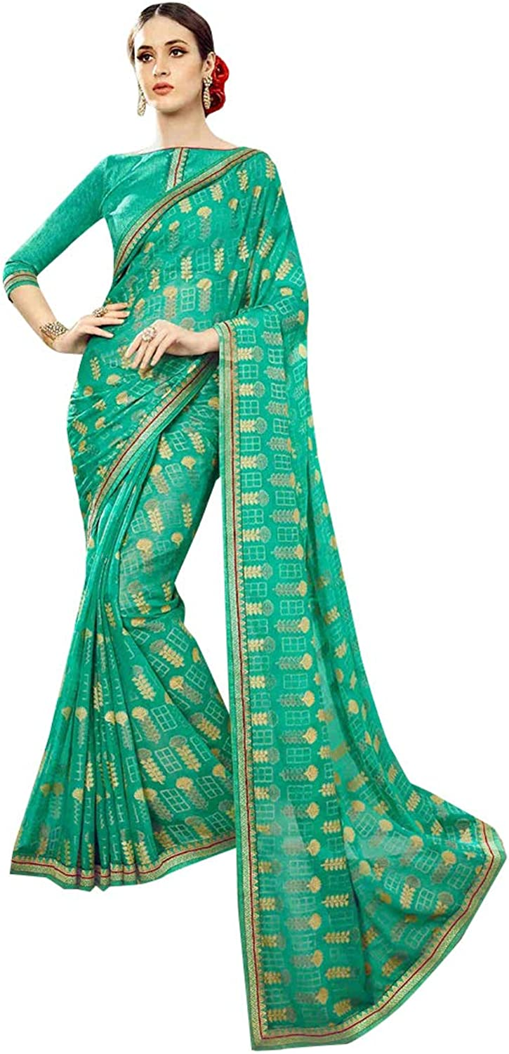 Sea Green Traditional Indian Designer Printed Saree Women Sari with Blouse piece Party wear collection 7833