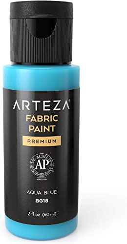 Arteza Permanent Fabric Paint BG18 Aqua Blue, 60 ml Bottle, Washer & Dryer Safe, Textile Paint for Clothes, T-Shirts,...