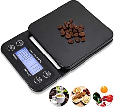 YYGJ Coffee Scale with Timer,Digital Kitchen Food Scale for Cooking Baking Electronic Weighing 6.6lb/3kg 1g Precision Sensors Black Batteries Included