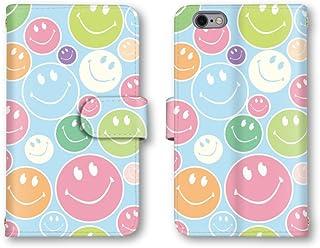 SAMSUNG Galaxy S5 SC-04F / SCL23 手帳型 ケース カバー スマホケース スマホカバー 携帯ケース 携帯カバー 【スマイル 笑顔 ニコちゃん】 (2-ブルー) サムスン ギャラクシー エスファイブ docomo au q0574-e0212-lec-1