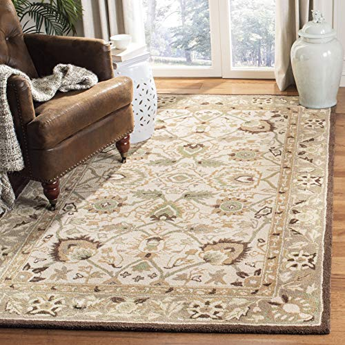 "Safavieh Anatolia Collection AN512D Handmade Traditional Oriental Ivory and Brown Premium Wool Area Rug (9'6"" x 13'6"")"
