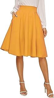 Floerns Women's Pleated High Waist Knee Length A Line Midi Skirt