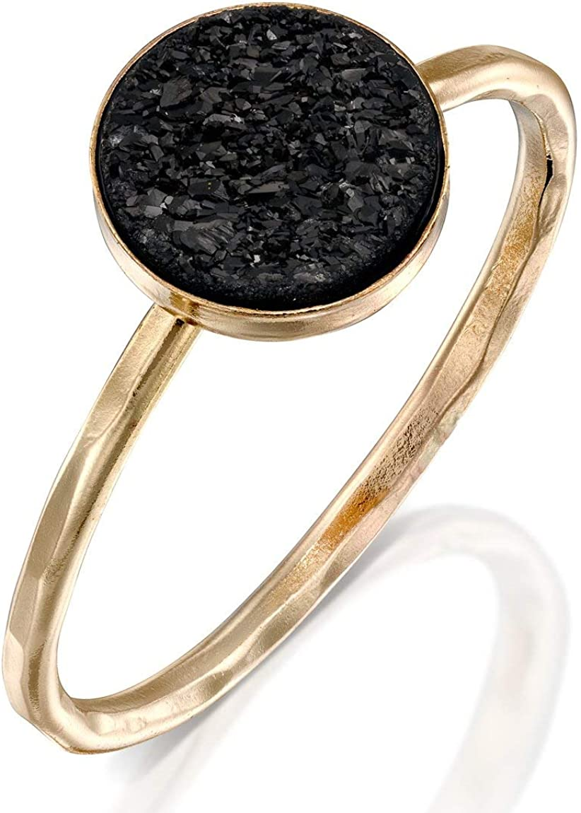 FABIN JEWELRY Handmade Hammered Gold Filled and Black Druzy Ring Stackable Band