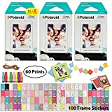 Polaroid Instant Film (60 Sheets) 6 x Instant Film 10 Shots per Pack + 10 Hanging Picture Frames + 60 Sticker Frames Accessory Bundle - Designed for use with Fuji Instax Mini & PIC 300 Cameras PIF300