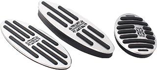 Deurreli BMW MINI ミニ ミニクーパー アルミ製 AT車 専用 アクセルペダル ブレーキペダル フットレスト カバー オシャレ ドレスアップ 穴あけ不要 3点セット ユニオンジャックカラー柄 (グレーユニオンジャック柄)