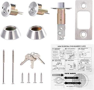 Rulart Double Cylinder Deadbolt Keyed on Both Sides, 2-Way Adjustable Deadbolt (Privacy/Passage), Satin Stainless Steel
