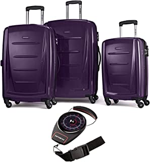 56847-1717 Winfield 2 Fashion Hardside 3 Piece Spinner Set 20 Inch, 24 Inch, 28 Inch - Purple Bundle with Manual Luggage Scale