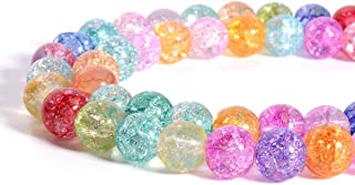 Strand 10mm Glass Crackle Beads - LONGWIN Approx 84pcs Mixed Color Glass Handcrafted Round Beads Jewelry Making Supply with Organza Bag
