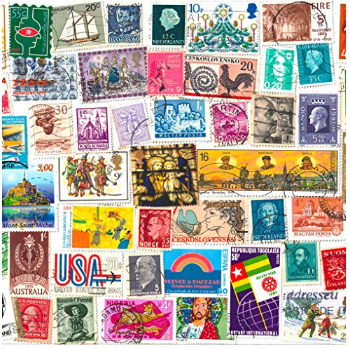 100 Stamps from World Countries. Mixed Philately, Used Postage Stamps Off Paper