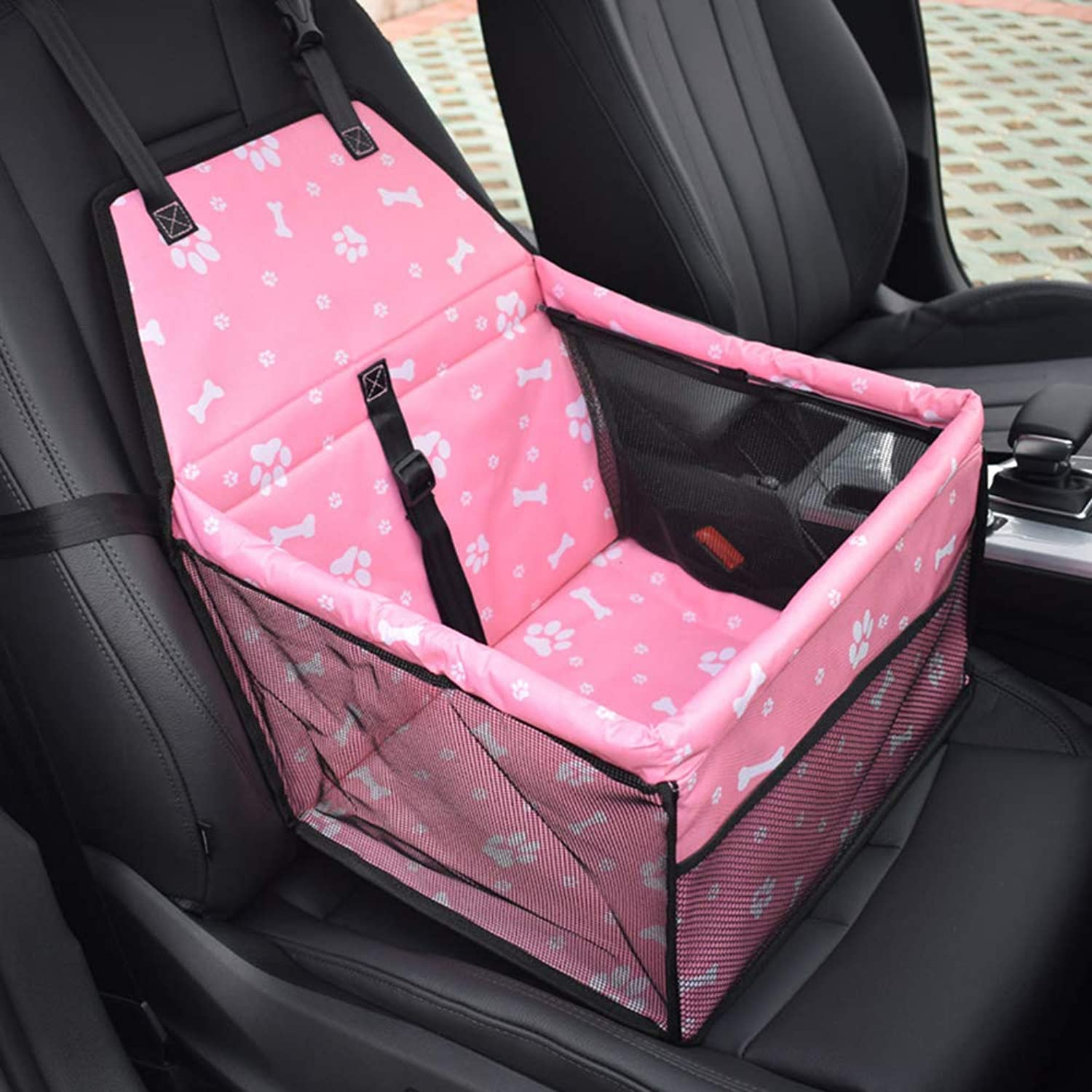 NUTK Pet Car Booster Seat for Dog Cat, Waterproof Portable Folding Travel Safety Seat Box with Safety Leash and Zipper Storage Pocket for 11 Pound Pet.Pink