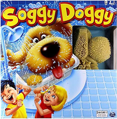 Spin Master Games 6040698 - Soggy Doggy, Rennspiel um die Hundedusche, mit echtem Wasser