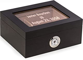 Custom Personalized Espresso Walnut Wood Cigar Humidor with Glass Display Top by Bey Berk