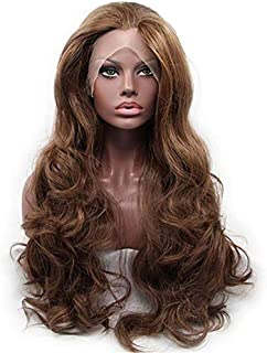 RLZ Brown Lace Front Wigs Glueless Long Wavy Synthetic Wig for Women Girls Side Parting Heat Resistant Half Hand Tied Hair Sweet Sugar Brown Color 24inch