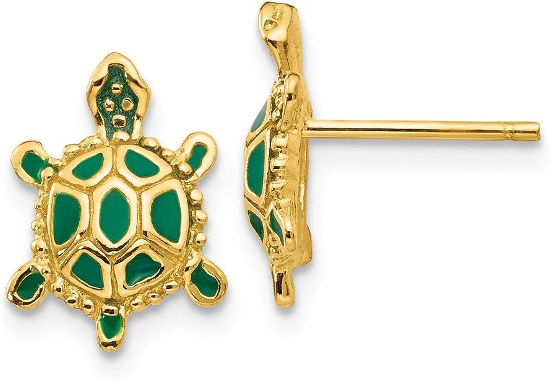 Beautiful Yellow gold 14K Yellowgold 14k Green Enameled Turtle Post Earrings