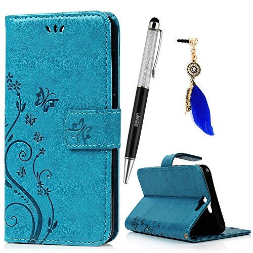 Lanveni Lederhülle Leder Tasche für HTC One A9 (12,7 cm (5 Zoll) Hülle Blau Muster Geprägte Designs Design Hülle Cover Bookstyle Brieftasche Card Slot Handy Schutzhülle Back Cover