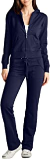 Womens Casual Basic Terry Zip Up Hoodie Sweatsuit Tracksuit Set S-3XL