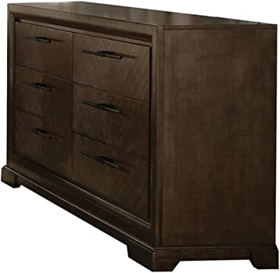 Benjara Benzara Wooden Dresser with Six Drawers, Brown