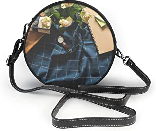 Bafrsc Coffee Mug And Watch On Blue Textile Women's Hand Round Crossbody Ms. Shoulder Messenger Bag Personalized Tote