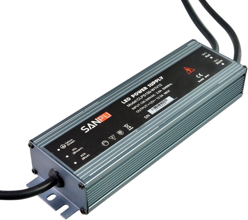 LED Strip Power Supply 12V 150W 12A Constant Voltage 12VDC LED Driver AC-DC 12Volt Transformer Converter Waterproof IP67 Slim Type Aluminum Case