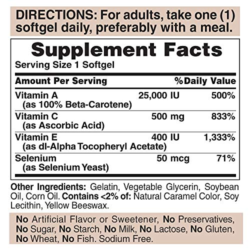 Fórmula Puritan's Pride, cápsulas blandas de Super Antioxidant 100 unidades (paquete de 1)