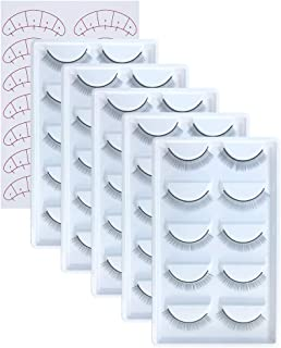 25 Pairs Practice Lashes for Eyelash Extensions Supplies Training Eye Lash Strips Self Adhesive Mimic Natural Eyelash in 5 Bulks by EMEDA