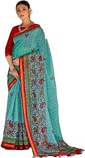 المرأة الهنديات الزرقاء التقليدية القطن الوفير الفاخرة ساري مع بلوزة قطعة كاساوا اللباس الرسمي الاحتفالي 6050
