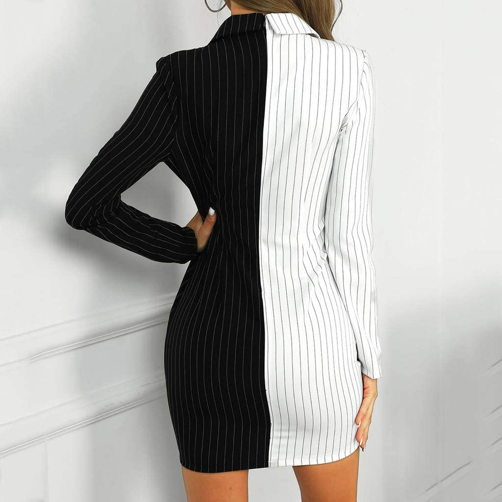 Kaideny Women Lattice Double Breasted Button Long Sleeve Dress Wear to Work Business Party Formal Cocktail Dress