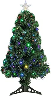 Homegear Artificial Pre-Lit Fiber-Optic Christmas Tree 3ft with 95 Color Lights and Star