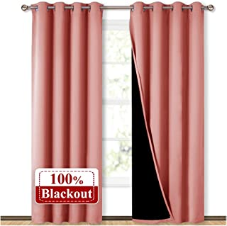 NICETOWN 100% Blackout Window Curtain Panels, Heat and Cold Blocking Drapes with Black..