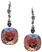 Catherine Popesco 12mm Brandy Swarovski Crystal Cushion Cut Silvertone Leverback Earrings
