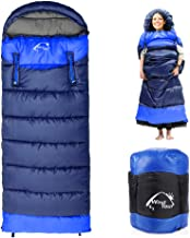 0 Degree Wearable Sleeping Bag for Adults Compact Lightweight Cold Weather Mummy Sleeping Bags for 2-3 Season Camping Backpacking, Fits 5°F ~ 50°F, 1.95KG More Warmer (Blue, Right)
