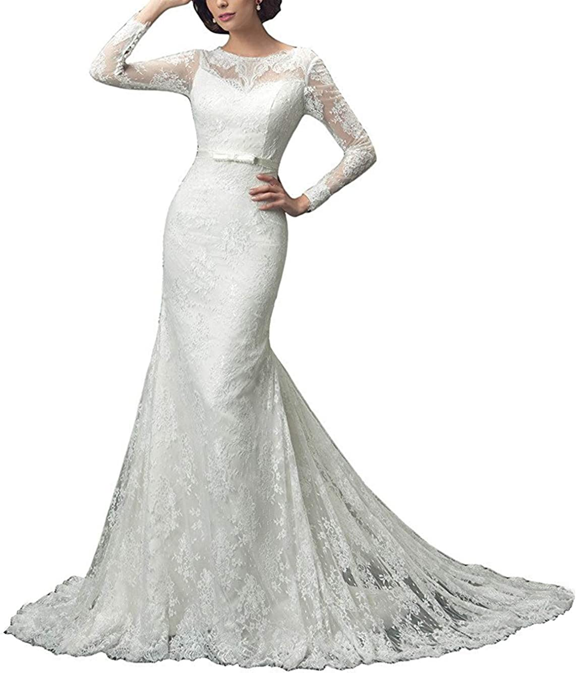 Max 55% OFF M Bridal Women's Illusion Memphis Mall Long Crew Neck Mermaid Bri Sleeve
