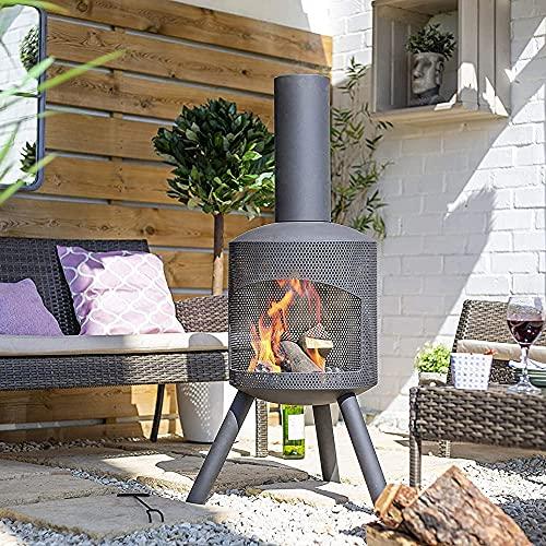 La Hacienda Modern Chimenea - Santana Mesh (Tall Log Burner, Large Garden Patio Heater, Fire Pit Wood Stove BBQ Chiminea)
