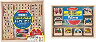 Melissa & Doug Deluxe Wooden Stamp Set ABCs 123s & First Wooden Stamp Set – Vehicles